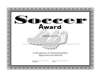 Nice Certificate Of Achievement On Soccer   Two