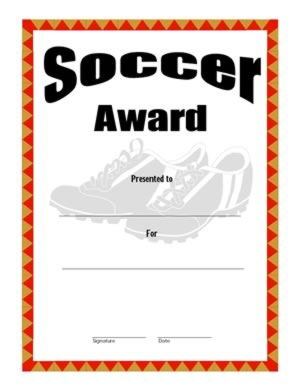 soccer certificate templates - certificate of achievement on soccer four certificate