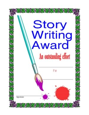 Certificate Of Achievement In Story Writing-Two