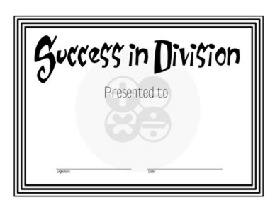 Certificate Of Achievement In Division
