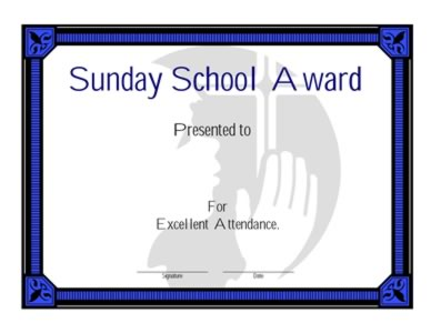 Sunday School Award Certificate