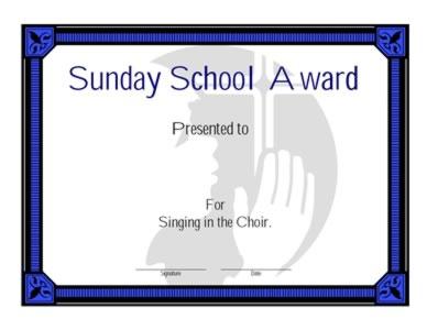 Sunday School Award Certificate - Two