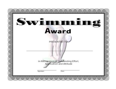 Swimming Award Certificate-One