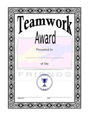 Team work award certificate-Four