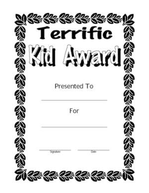 Terrific Kid Award Certificate - Free Printable Certificate Templates