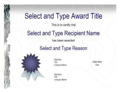 blue ribbon logo gray certificate template one certificate