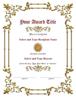 Double gold border with gold emblem award template certificate double gold border with brown designed circle award template get this certificate template yadclub Gallery