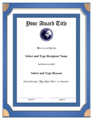 Blue Double Border Blank Certificate Template Vertical
