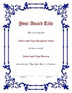 Blue Spikey Border Blank Certificate Template-One