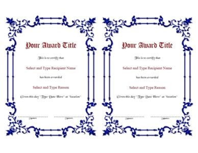 Blue Spikey Border Blank Certificate Template Pair-One