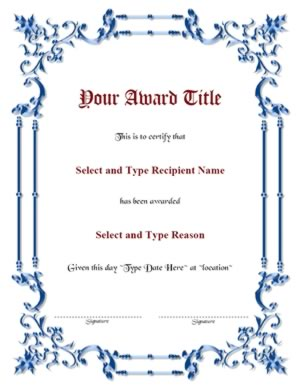 Blue Spikey Border Blank Certificate Template-Two