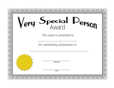 Very Special Person Award Certificate -Two